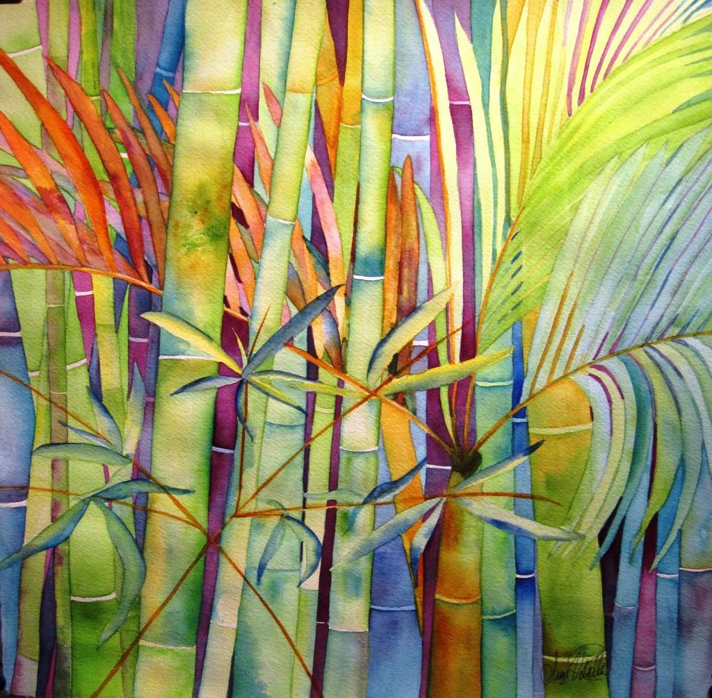 Lost in Bamboo ~15x15 Original Watercolor