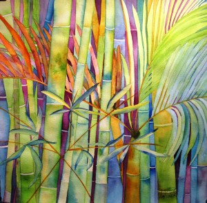 Lost in Bamboo ~15x15 Original Watercolor