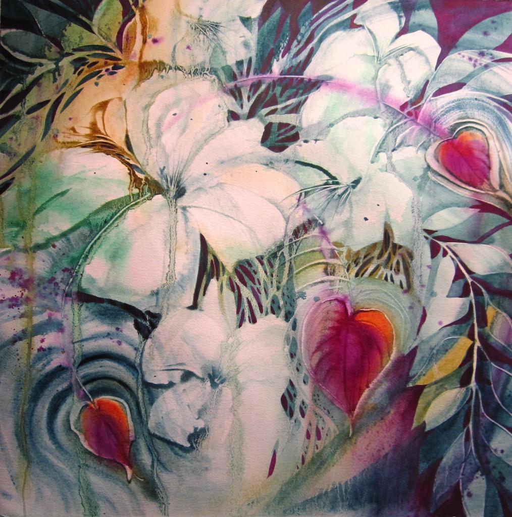 Lily Fountain 22x22 Original Watercolor