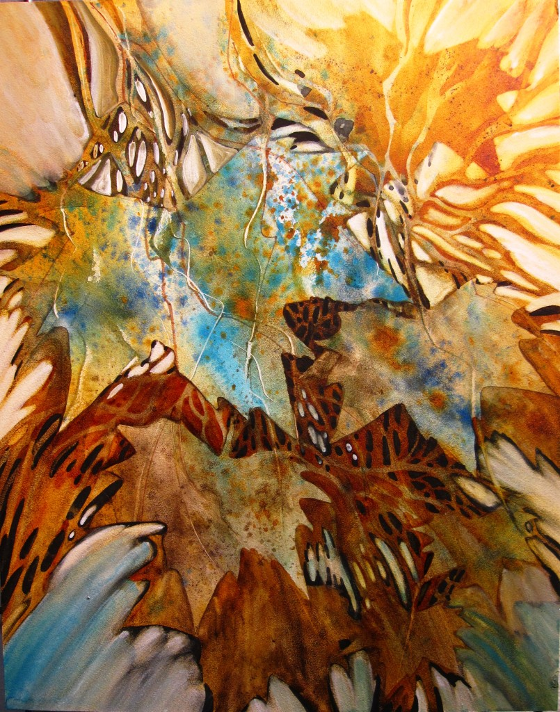 Swept Maple Syrup ~10x14 Original Watercolor on Aqua Board